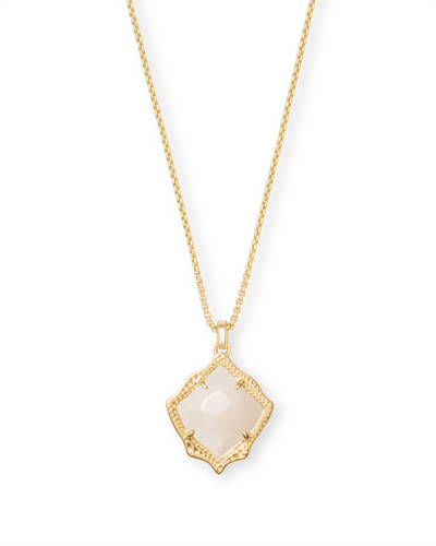 Kacey Gold Long Pendant Necklace in White Pearl