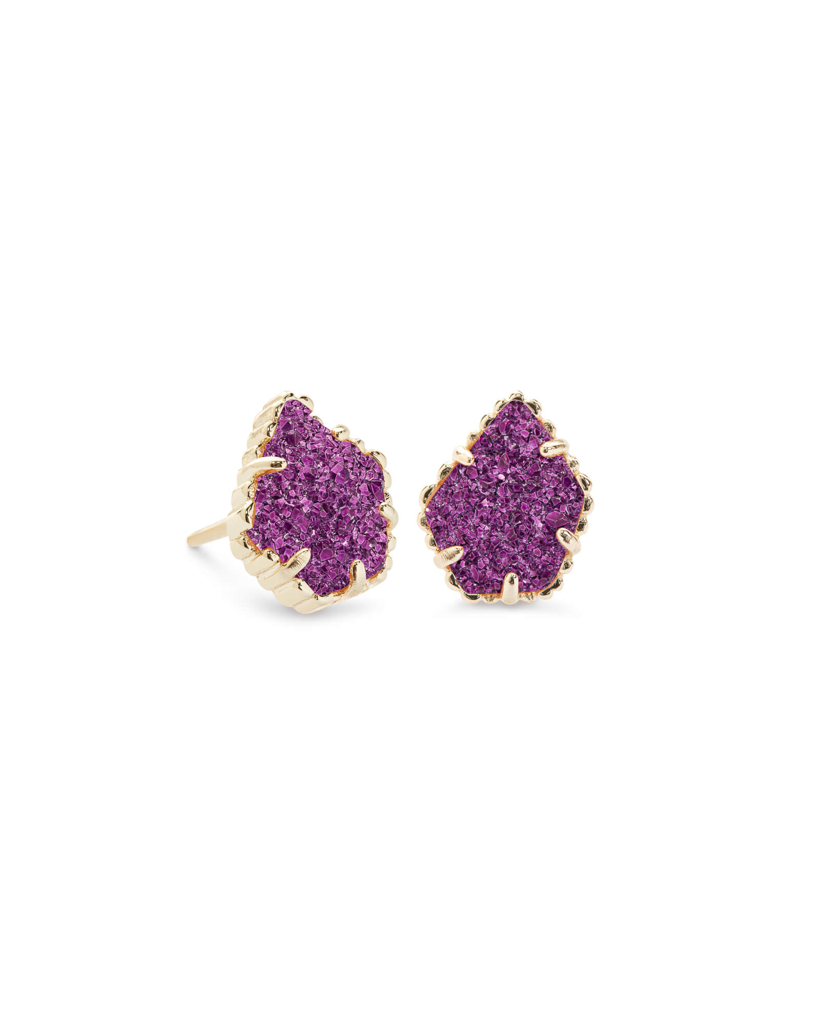 Tessa Gold Stud Earrings in Amethyst Drusy