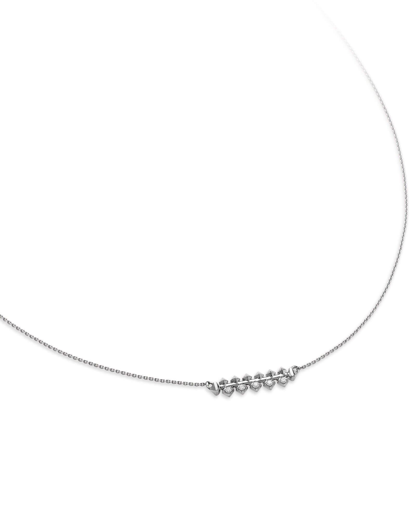 Silas 14k White Gold Necklace in White Diamond