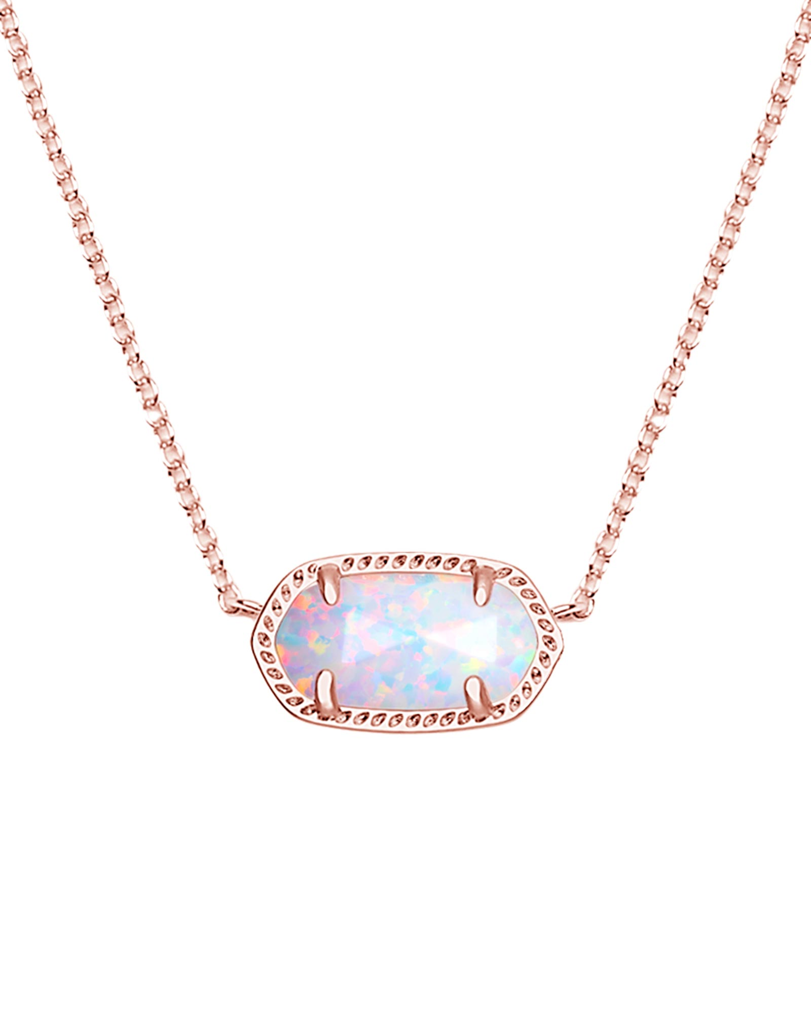 Elisa Rose Gold Pendant Necklace in White Kyocera Opal
