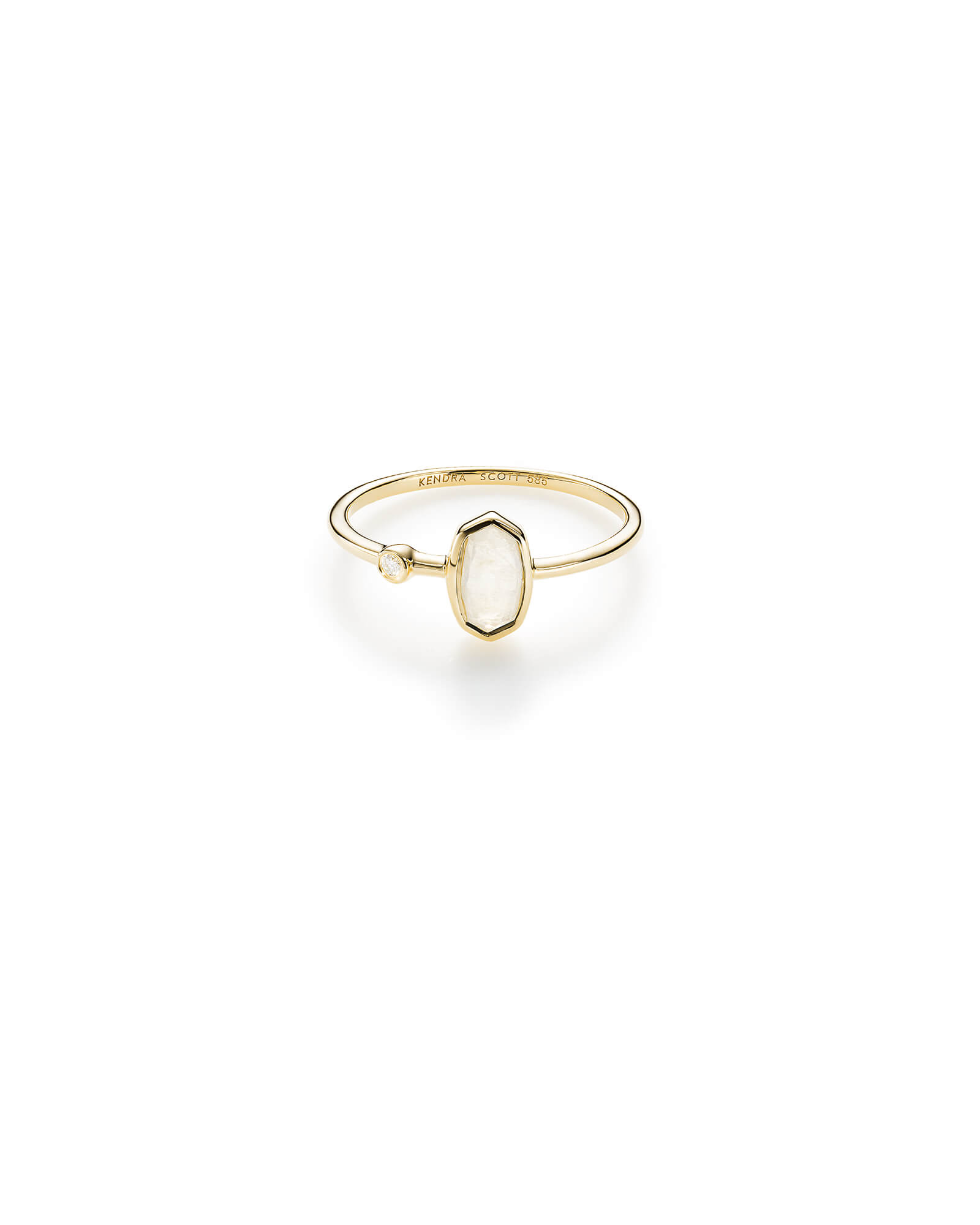 Chastain Ring in Rainbow Moonstone and 14k Yellow Gold - 5