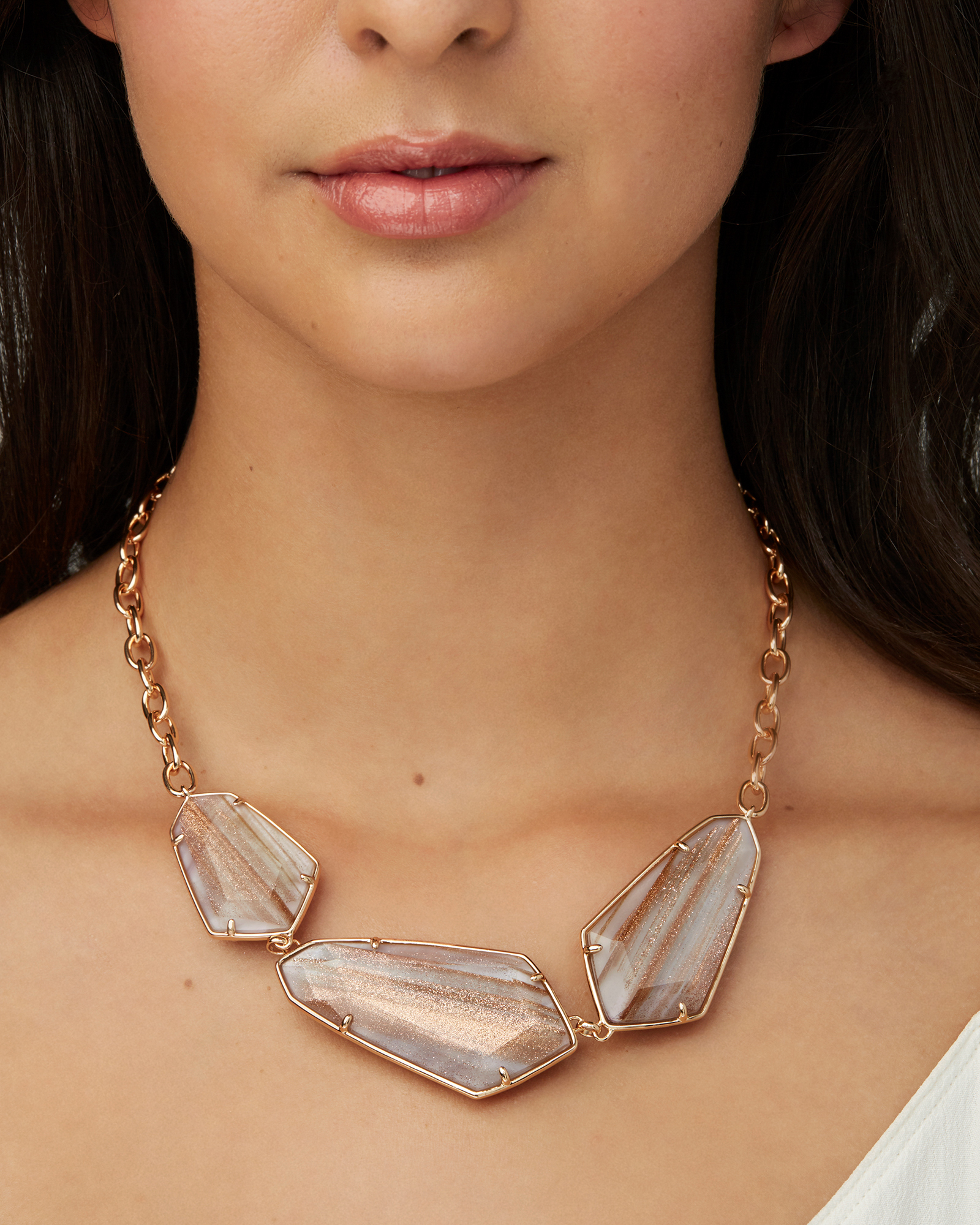 Violet Rose Gold Statement Necklace in Gold Dusted Pink Illusion