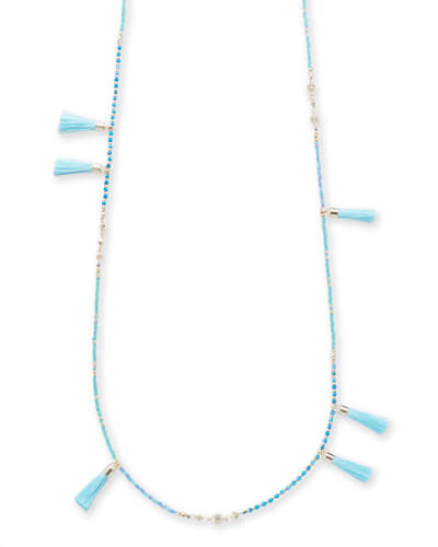 Augusta Gold Long Necklace In Aqua Howlite Mix