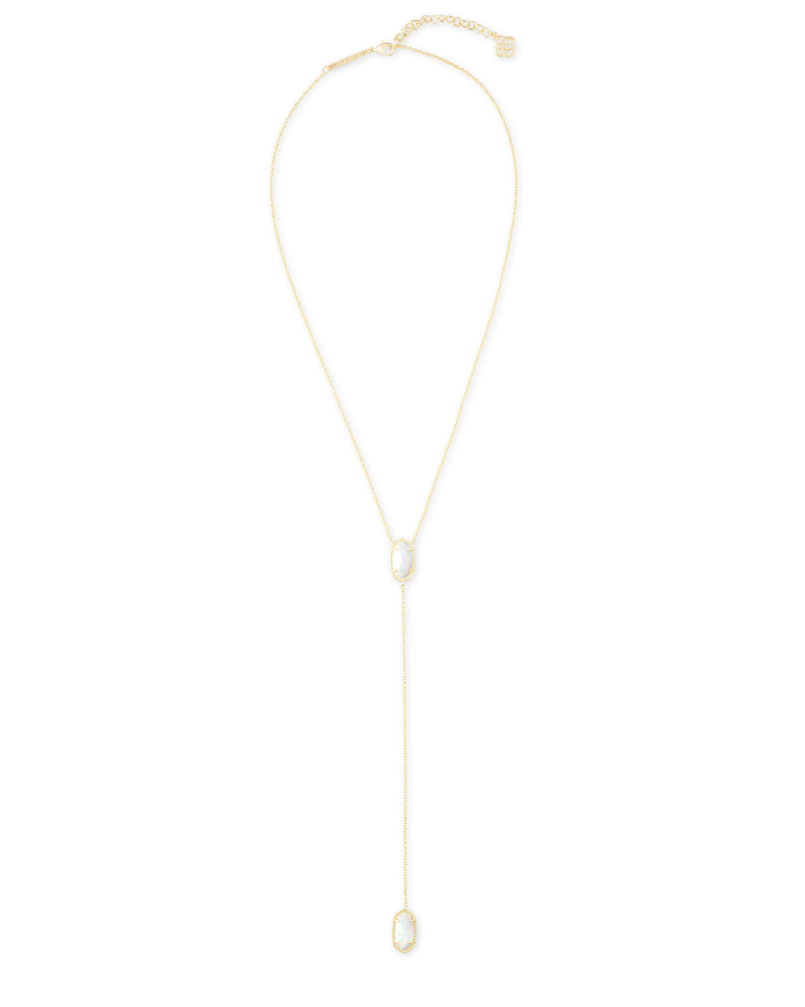 Ellison Gold Y Necklace in White Kyocera Opal