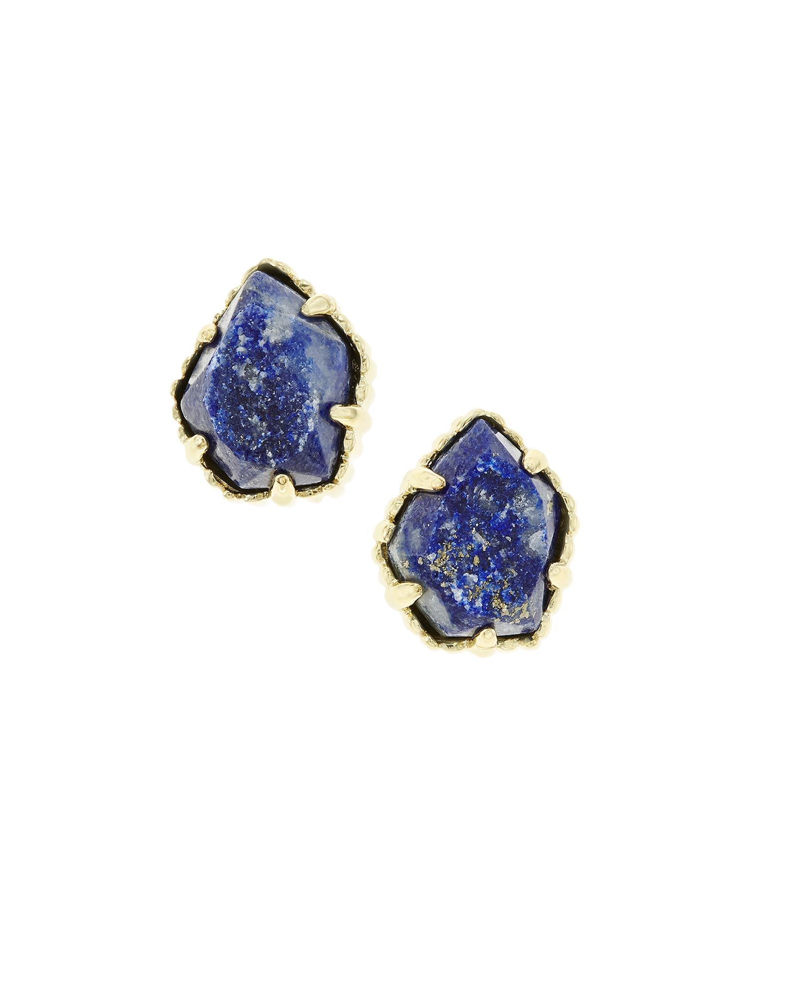 Tessa Stud Earrings In Raw Cut Lapis