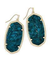 Danielle Gold Statement Earrings in Aqua Apatite