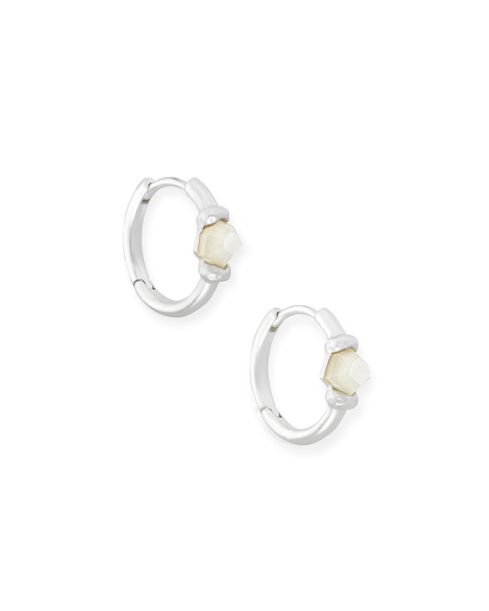 Ellms Bright Silver Huggie Earrings in Ivory Mother Of Pearl