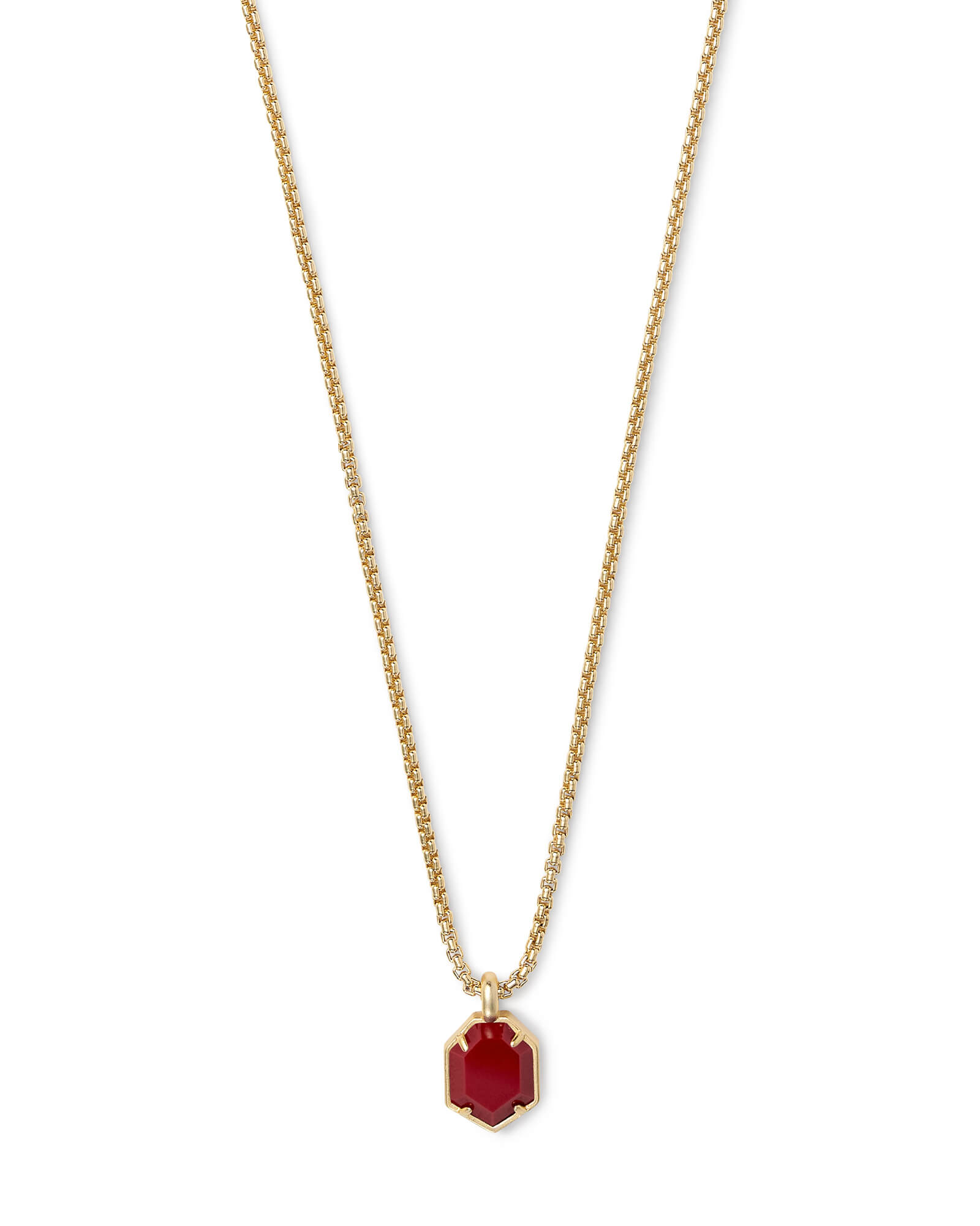 Teo Gold Pendant Necklace in Dark Red