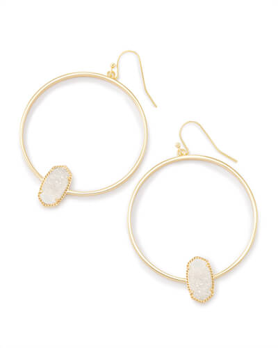 Elora Gold Hoop Earrings In Iridescent Drusy