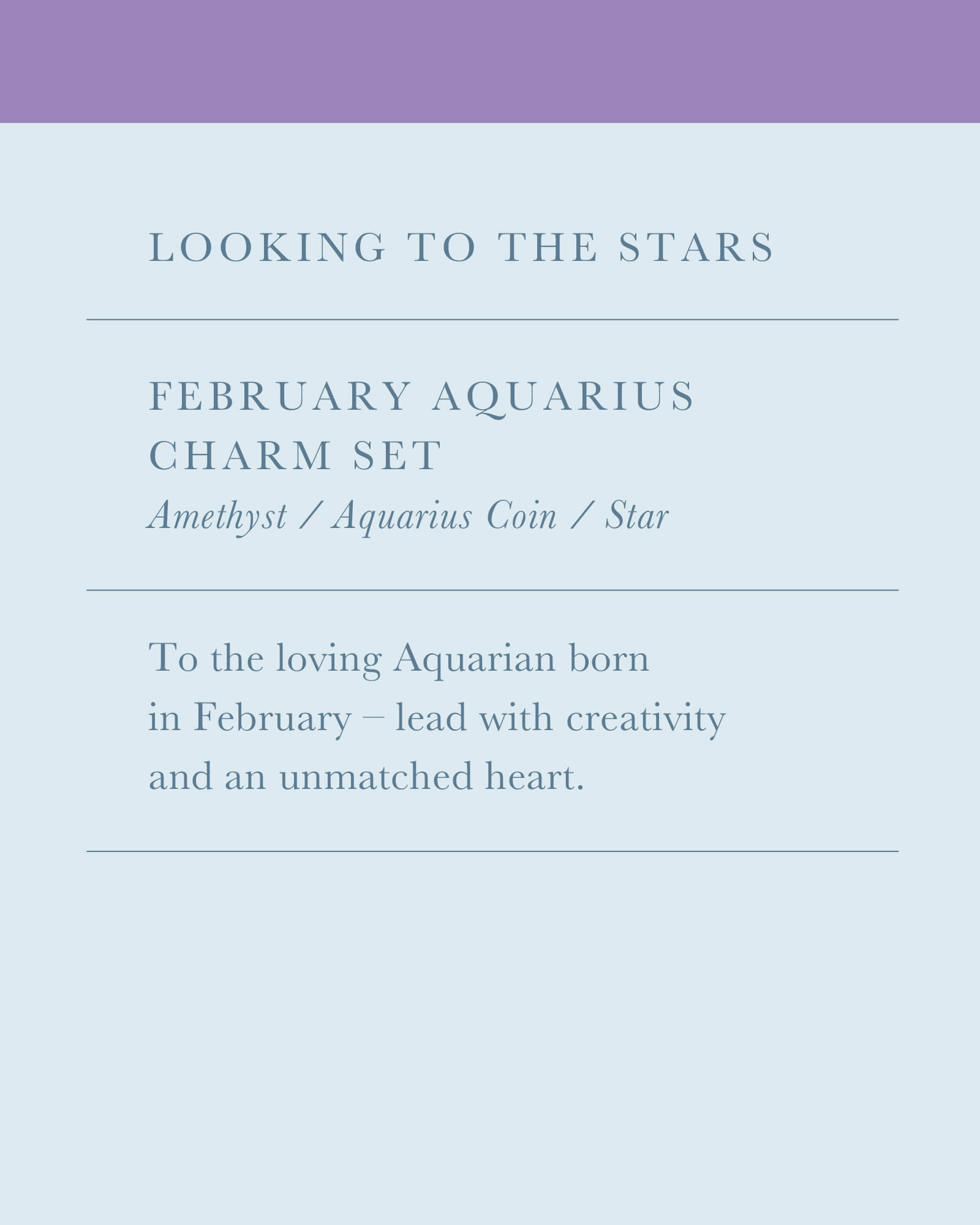 February Aquarius Charm Necklace Set