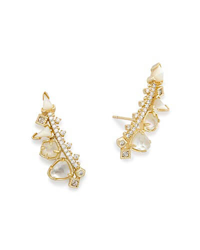 Clarissa Ear Climbers in Ivory Mix