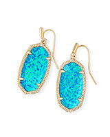 Dani Gold Drop Earrings In Turquoise Kyocera Opal