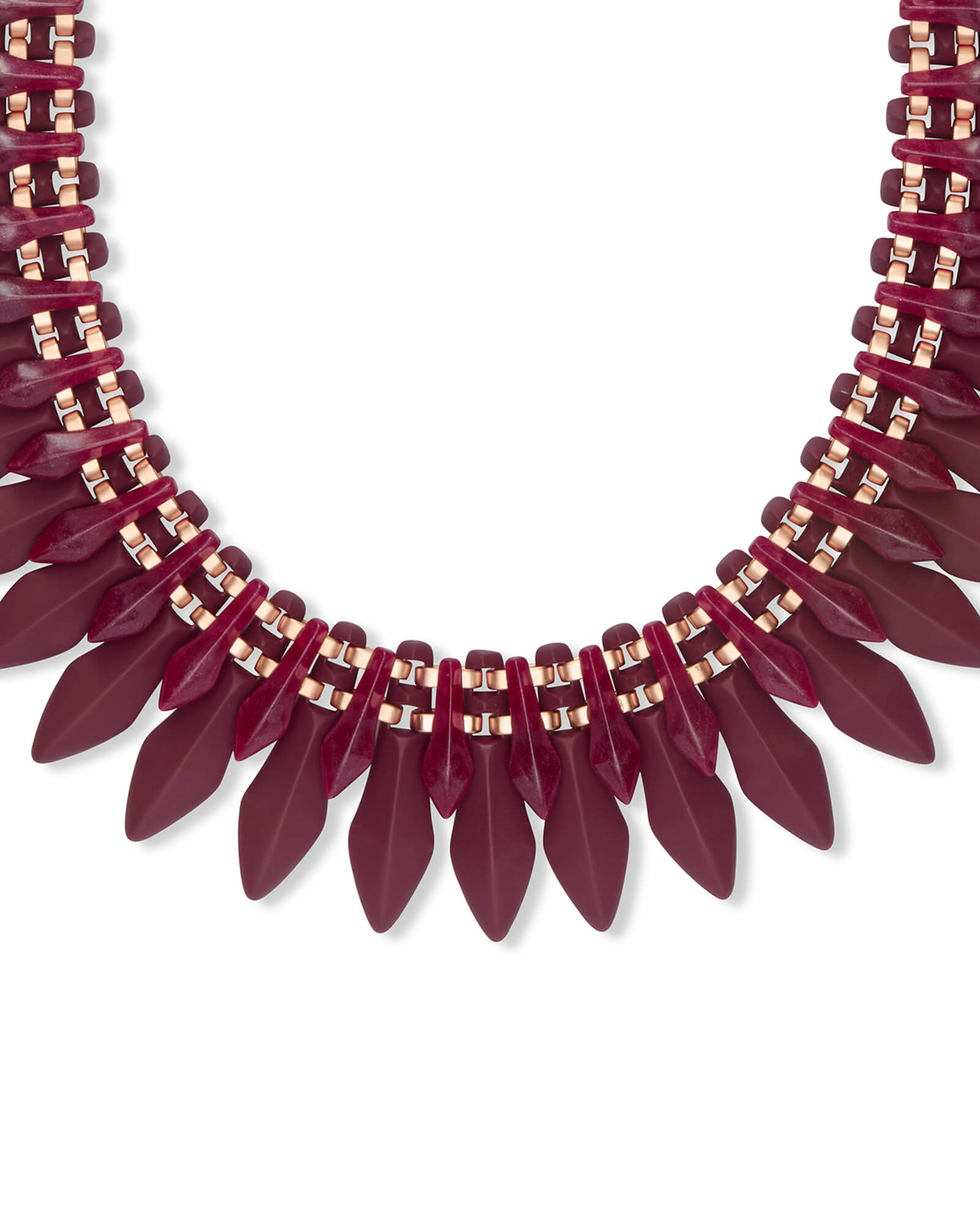 Lazarus Rose Gold Statement Necklace in Maroon Marbled Acrylic