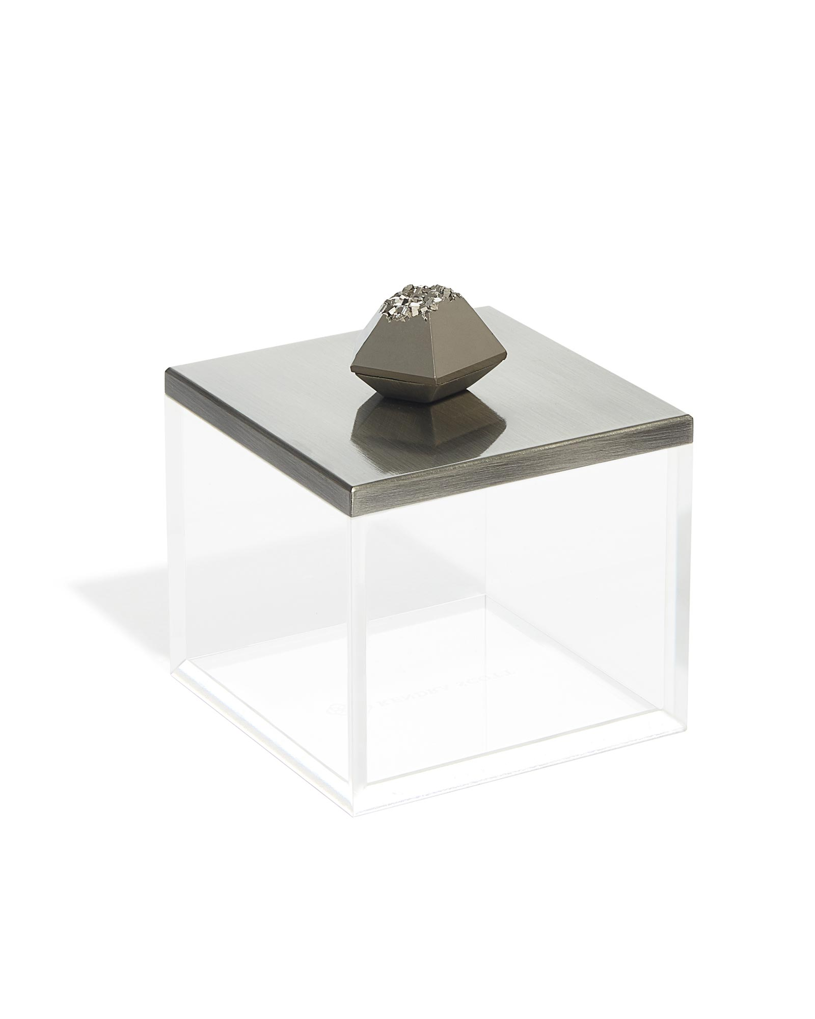 Square Acrylic Box in Platinum Drusy