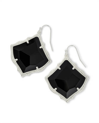 Kirsten Silver Drop Earrings in Black Opaque Glass