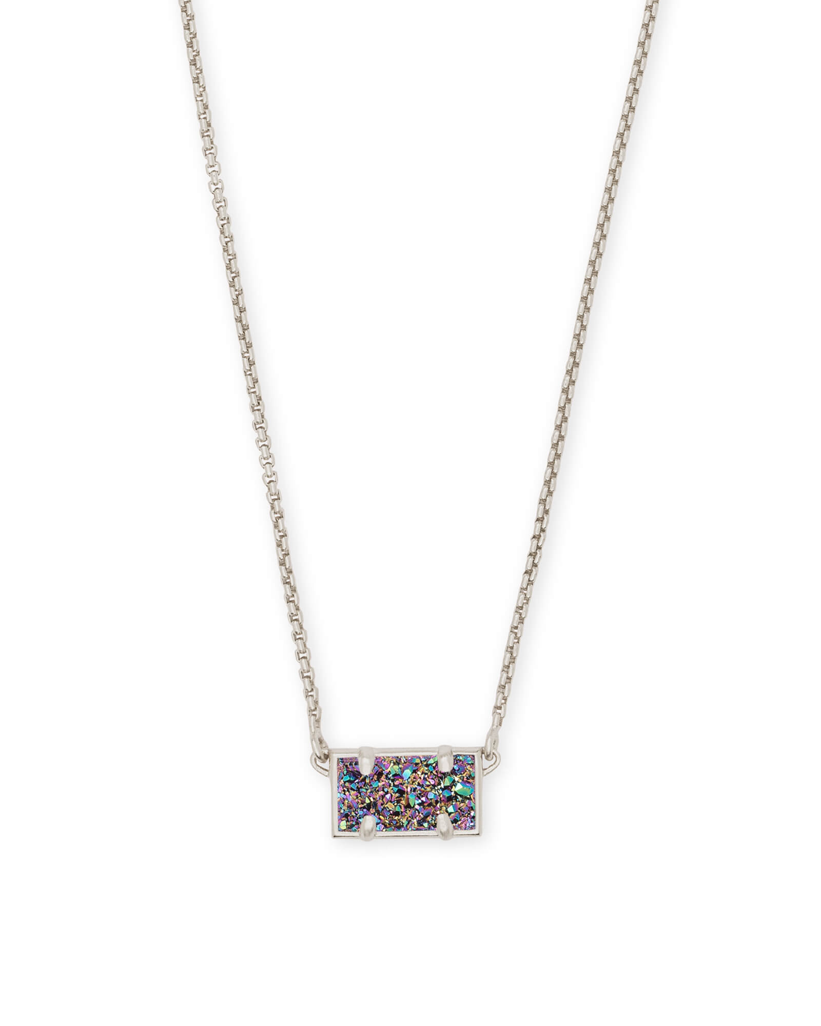Pattie Silver Pendant Necklace In Multicolor Drusy