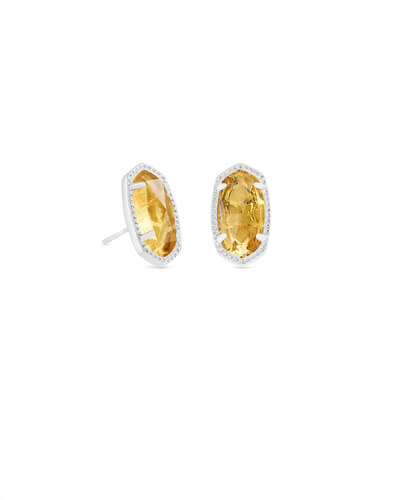 Ellie Silver Stud Earrings in Citrine