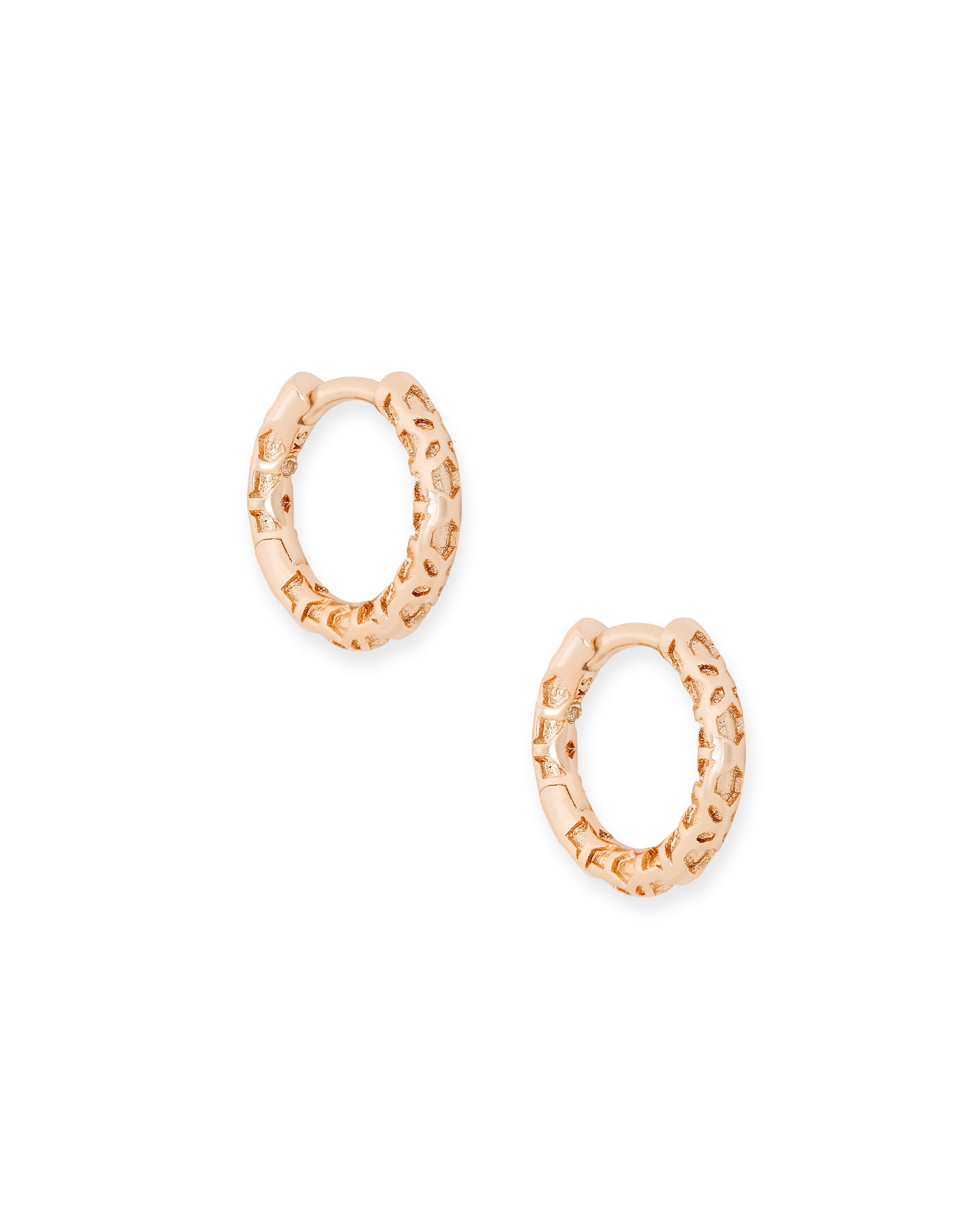 Maggie Huggie Earrings in Rose Gold Filigree