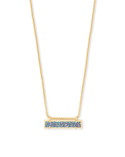 Leanor Gold Pendant Necklace in Multicolor Drusy