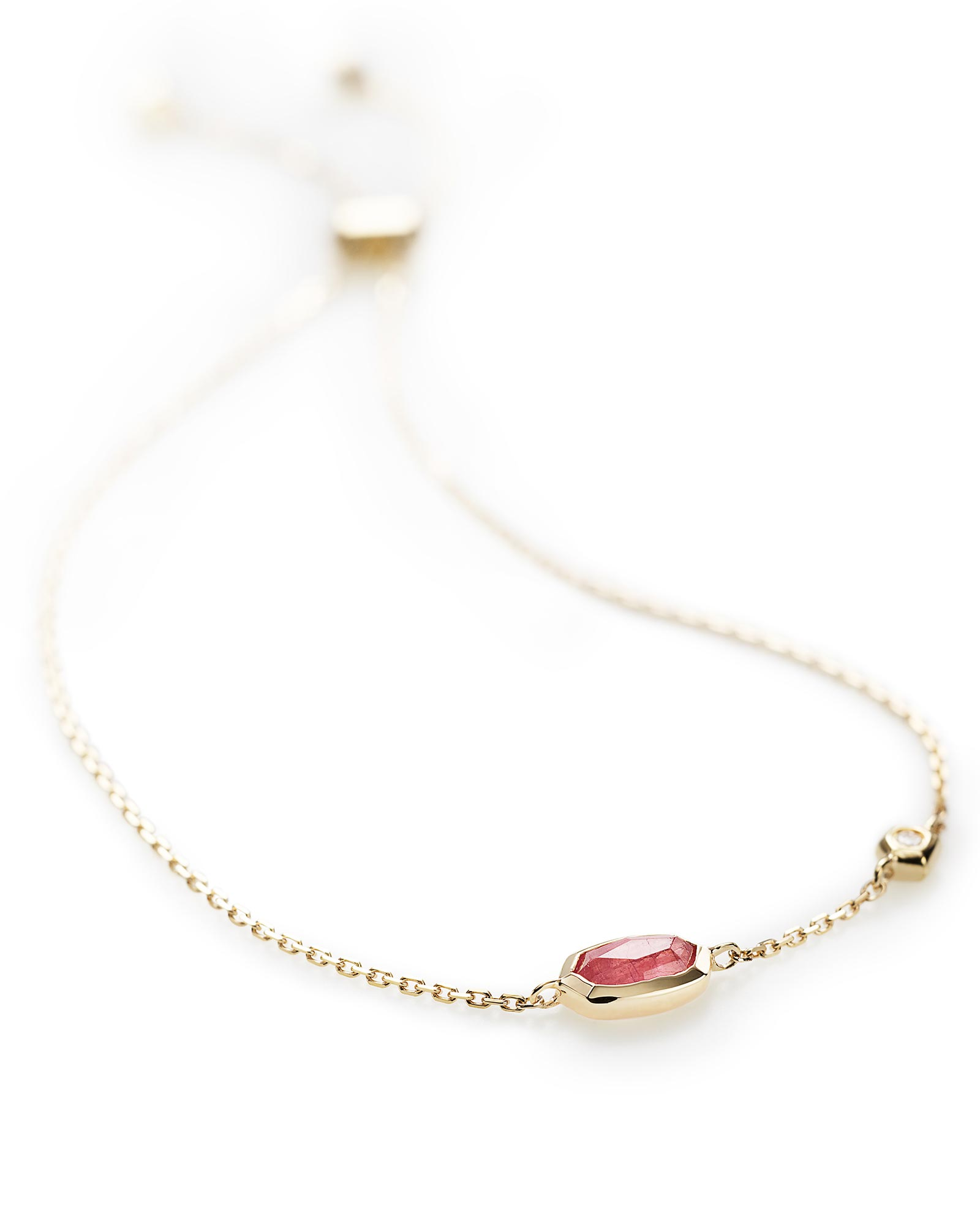 Benson Adjustable Bracelet in Pink Tourmaline and 14k Yellow Gold