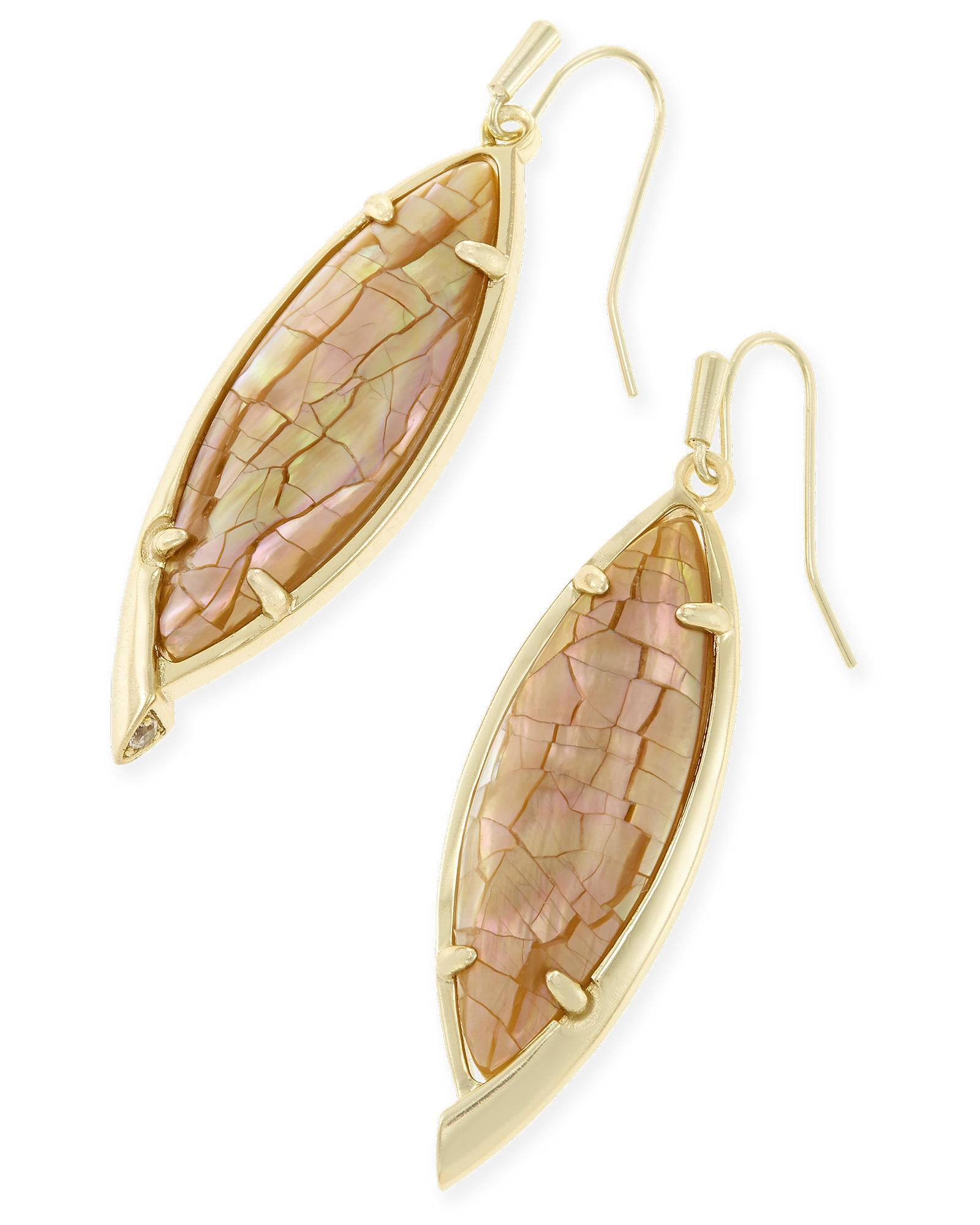 Maxwell Drop Earrings in Crackle Brown Pearl