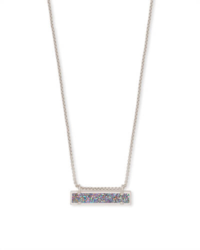 Leanor Silver Pendant Necklace in Multicolor Drusy