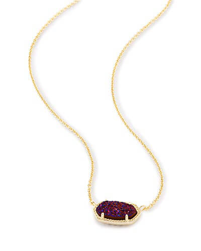 Elisa Pendant Necklace in Plum Drusy