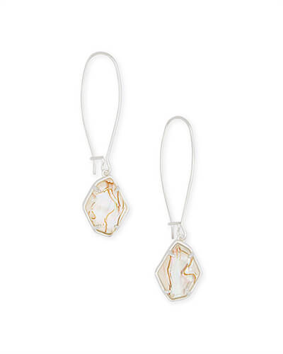 Ellington Bright Silver Drop Earrings in White Abalone
