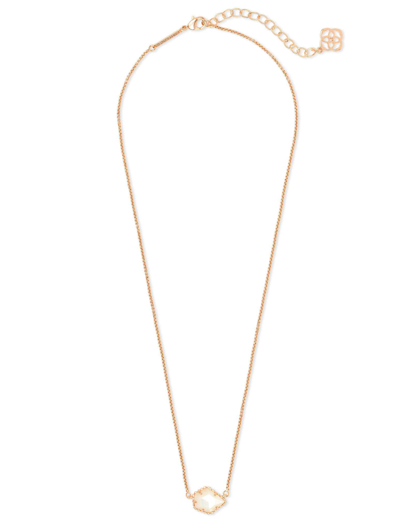 Tess Rose Gold Small Pendant Necklace In Ivory Pearl
