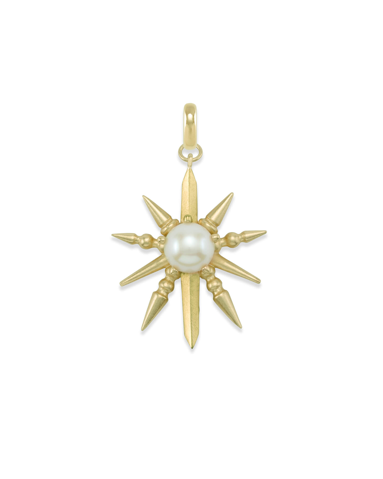Sunburst with Pearl Charm in Gold