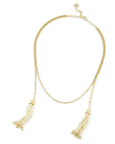 Monique Lariat Necklace in Ivory Pearl