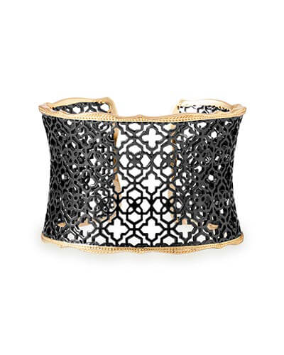 Candice Gold Cuff Bracelet in Gunmetal Filigree