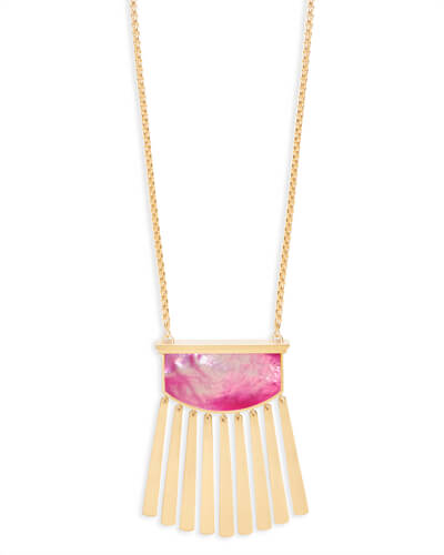 Ellen Long Pendant Necklace in Magenta Pearl