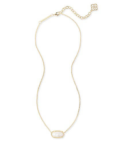 Elisa Gold Pendant Necklace in White Pearl