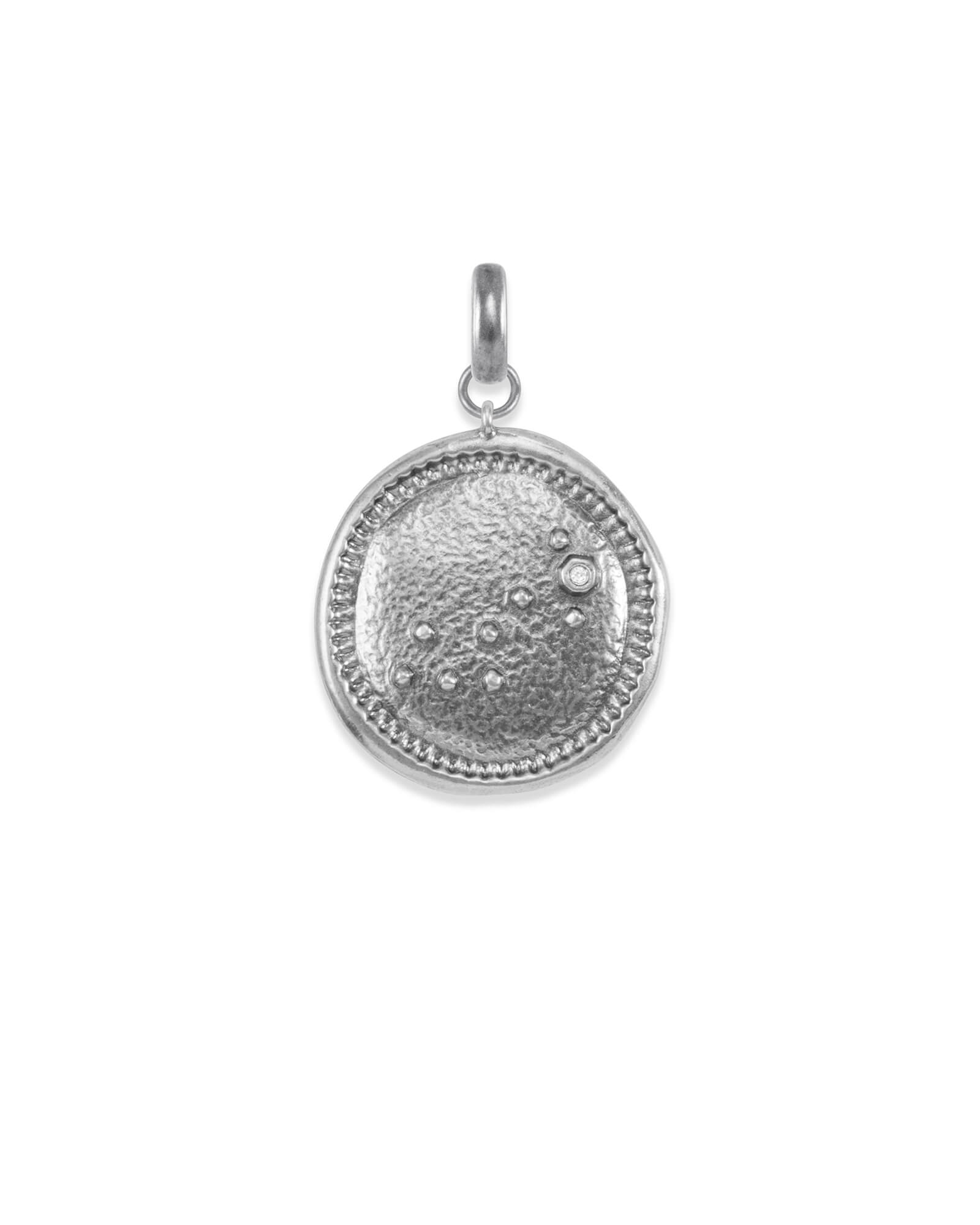 Scorpio Coin Charm in Vintage Silver