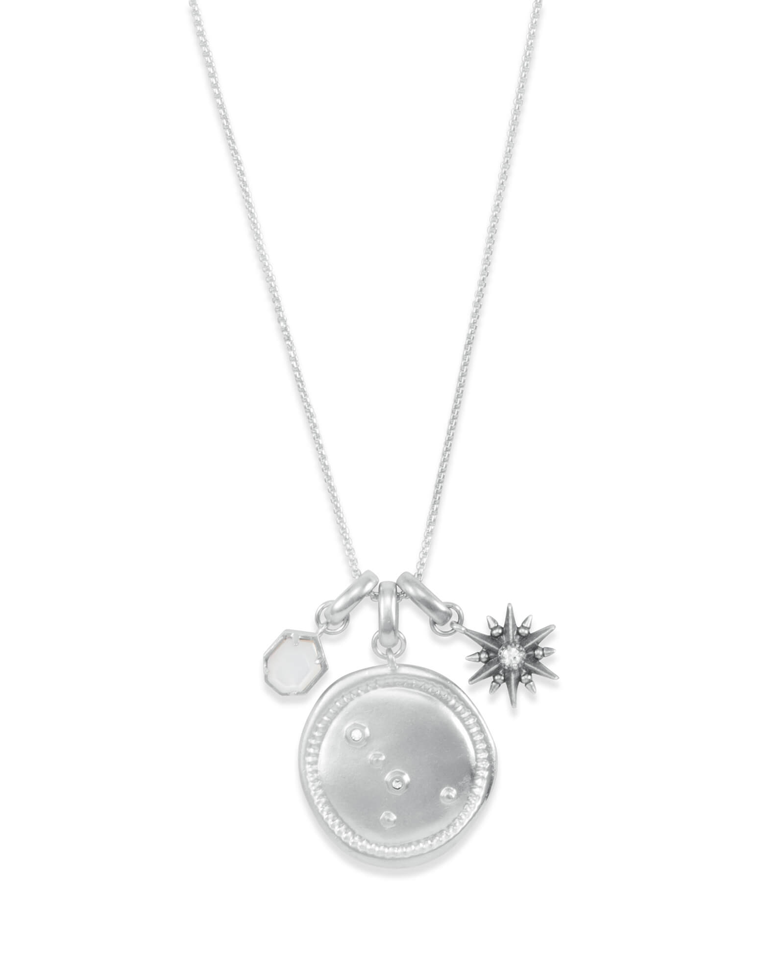 June Cancer Charm Necklace Set in Silver