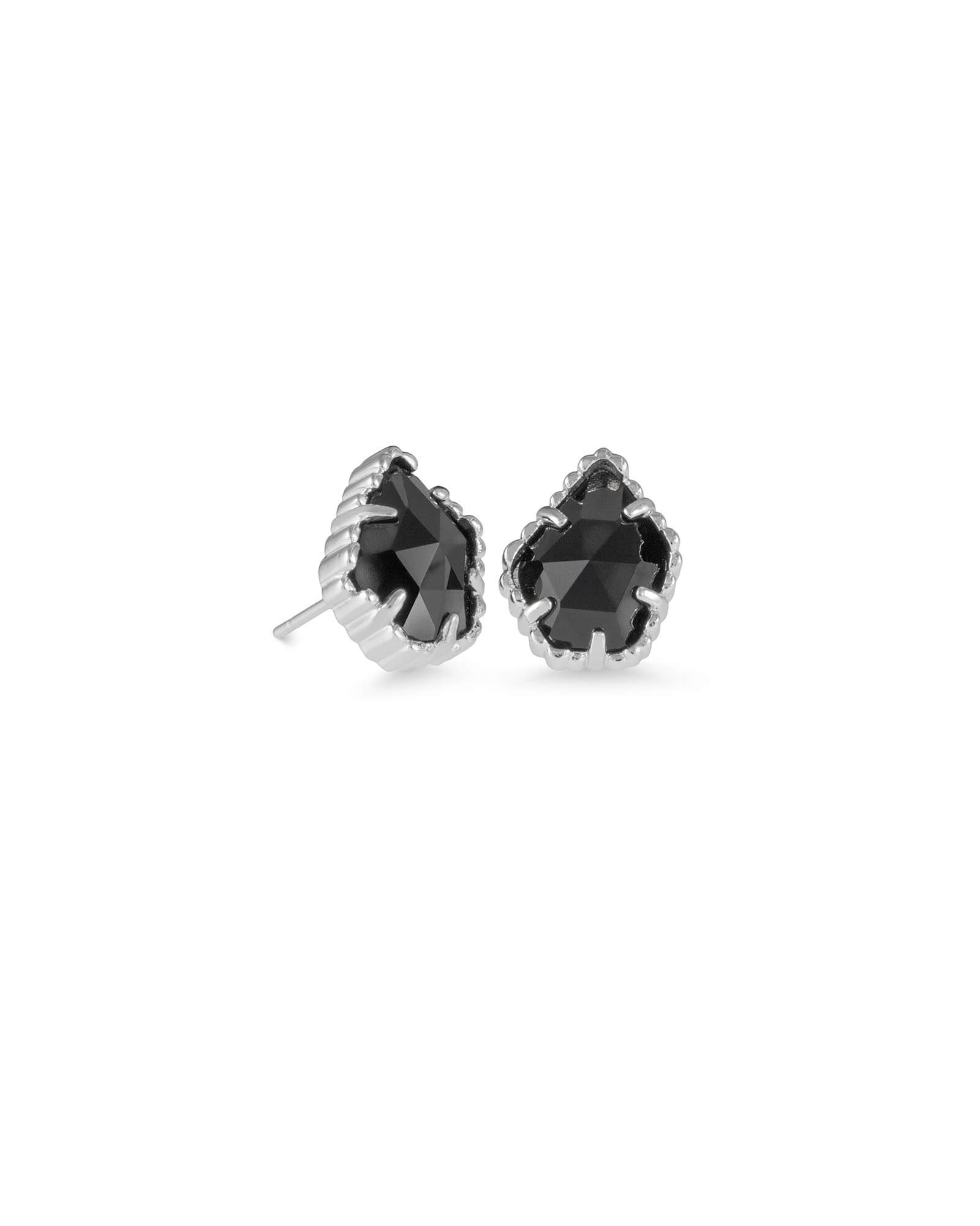 Tessa Silver Stud Earrings in Black Opaque Glass