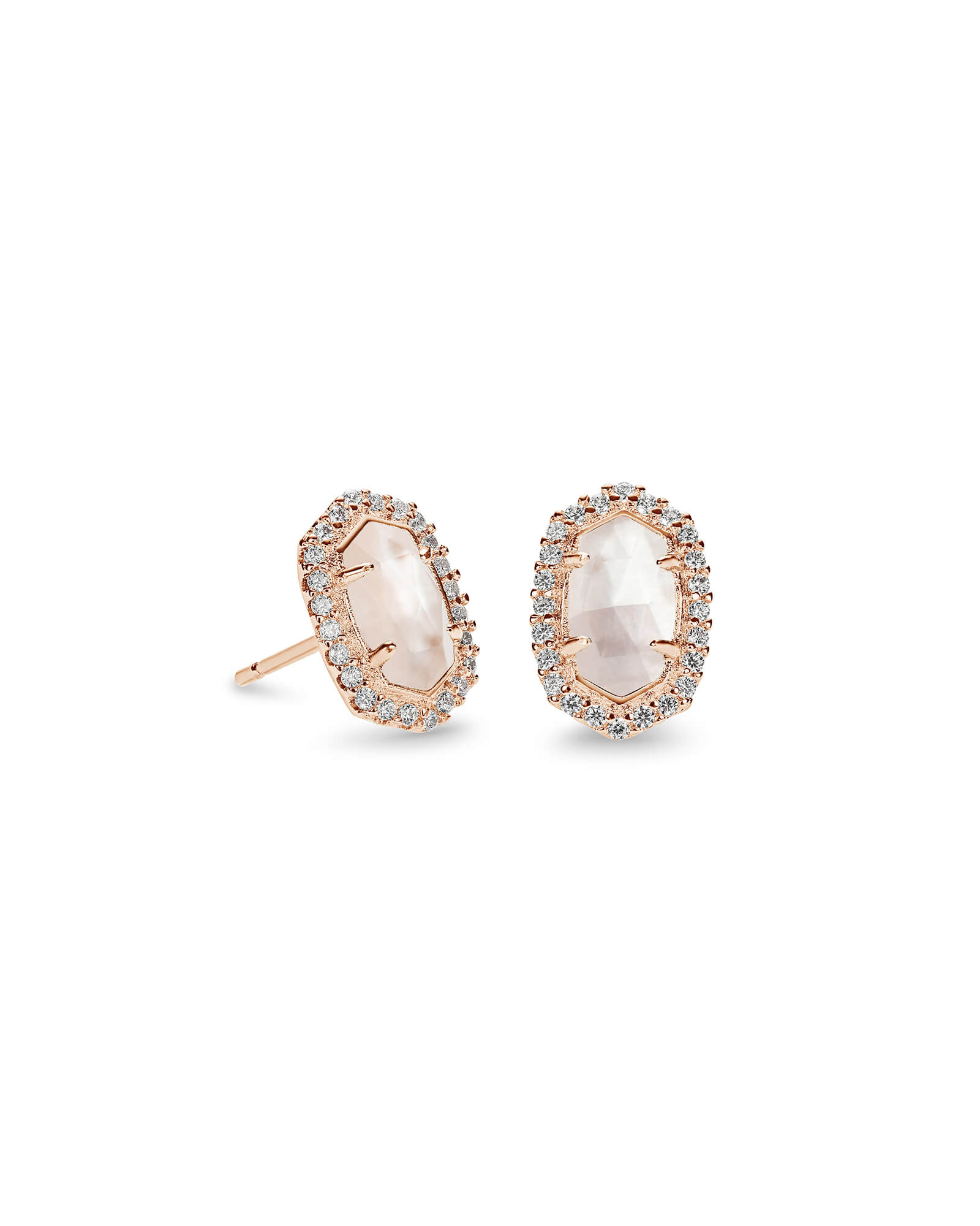 Cade Rose Gold Stud Earrings In Ivory Pearl by Kendra Scott