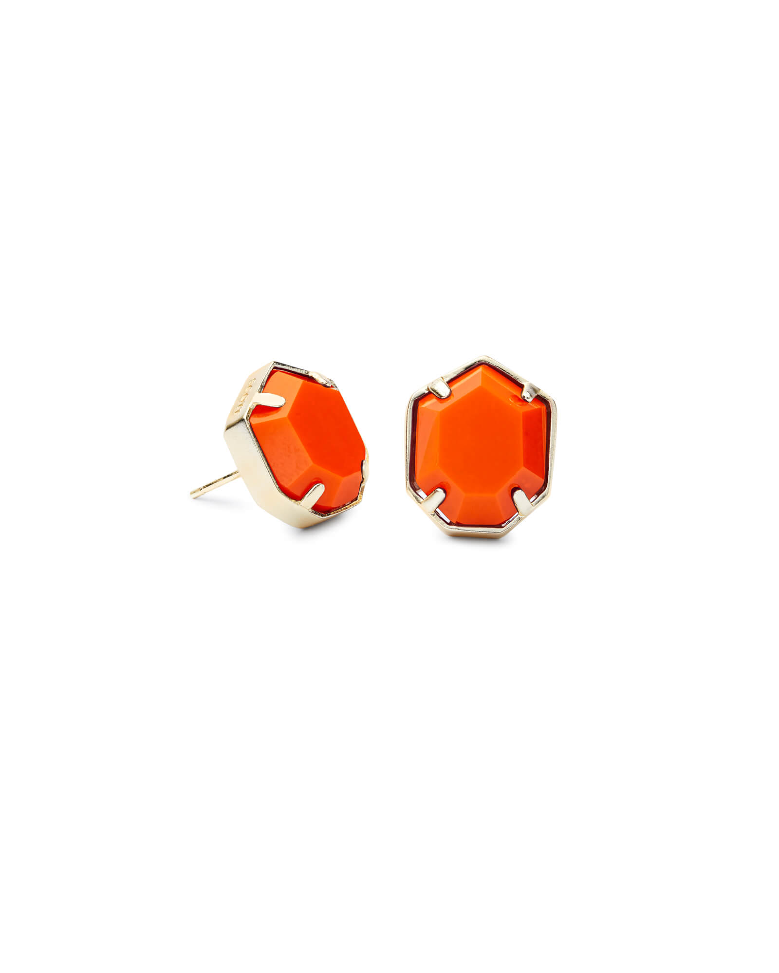 Taylor Gold Stud Earrings in Orange