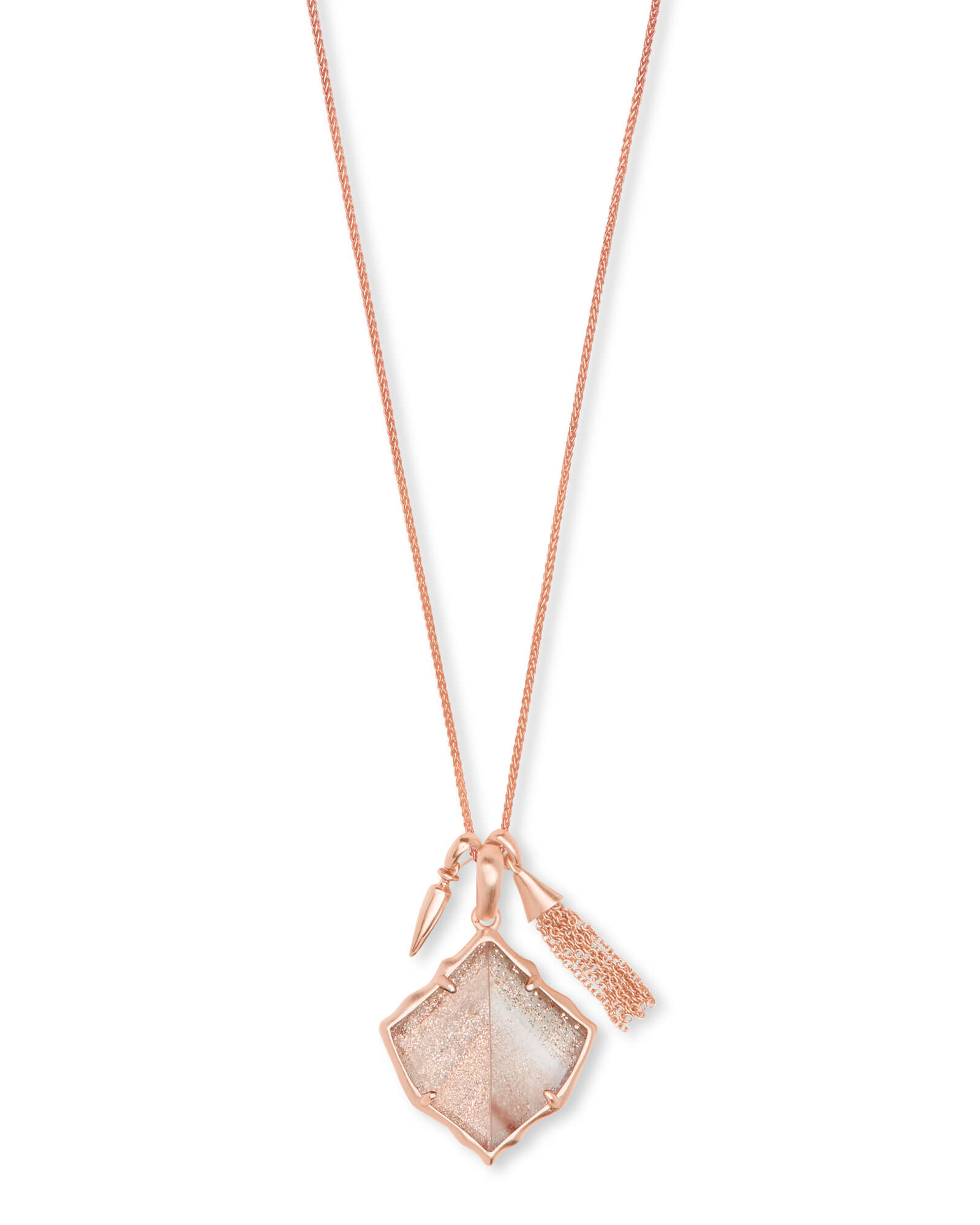 Arlet Rose Gold Pendant Necklace in Gold Dusted Glass