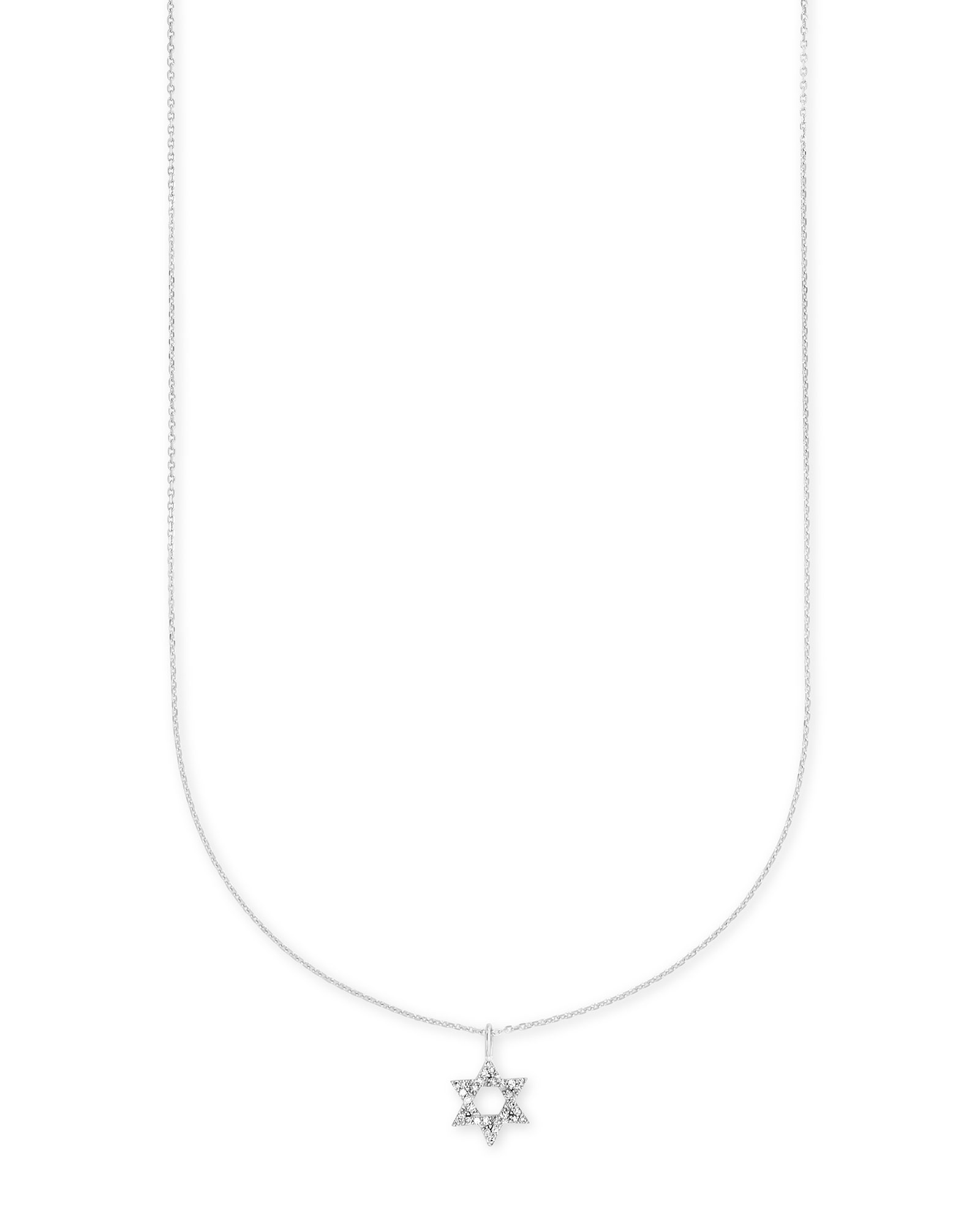 Star of David 14k White Gold Pendant Necklace in White Diamonds