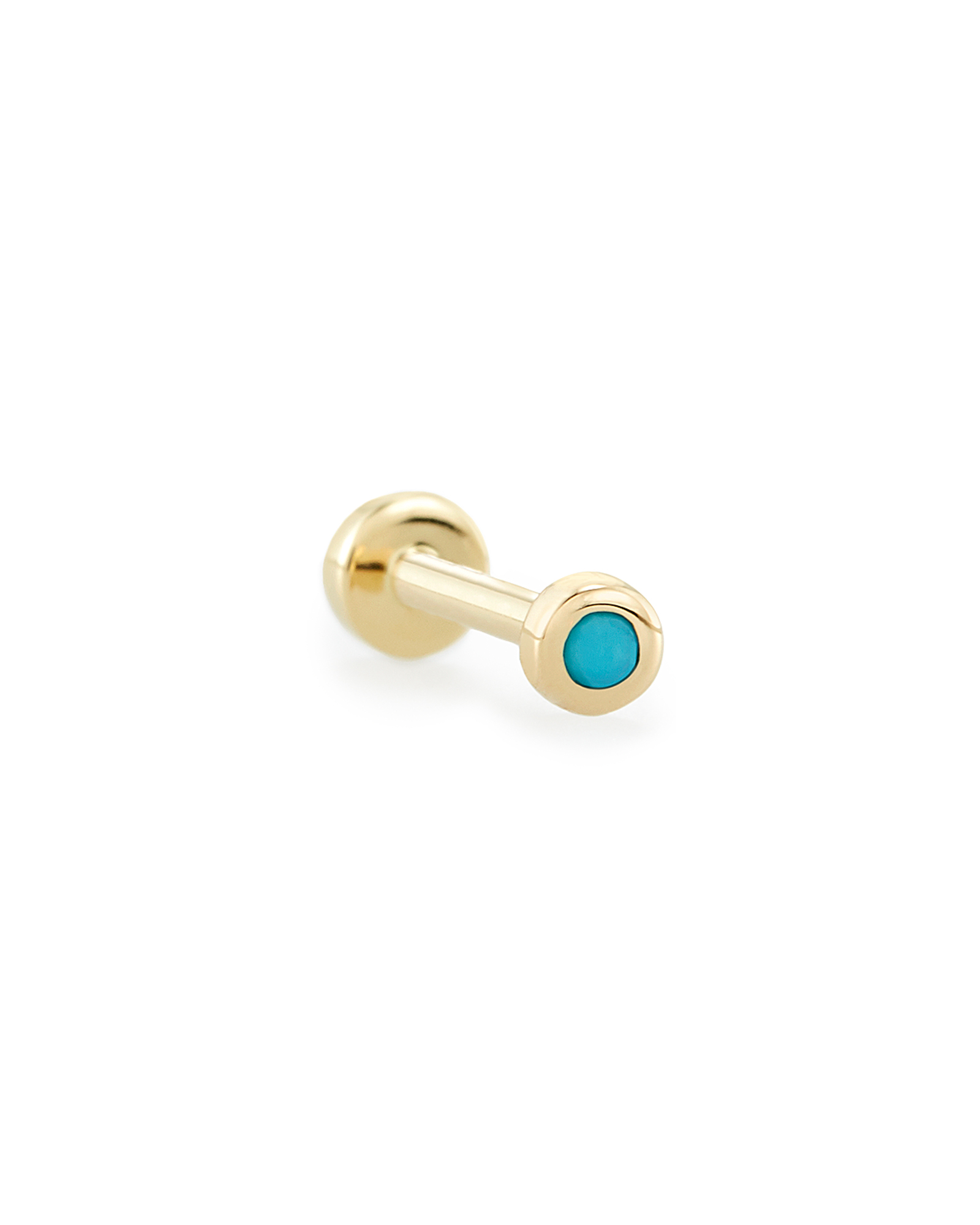 Reeve Mini 14K Yellow Gold Stud Earring in Genuine Turquoise