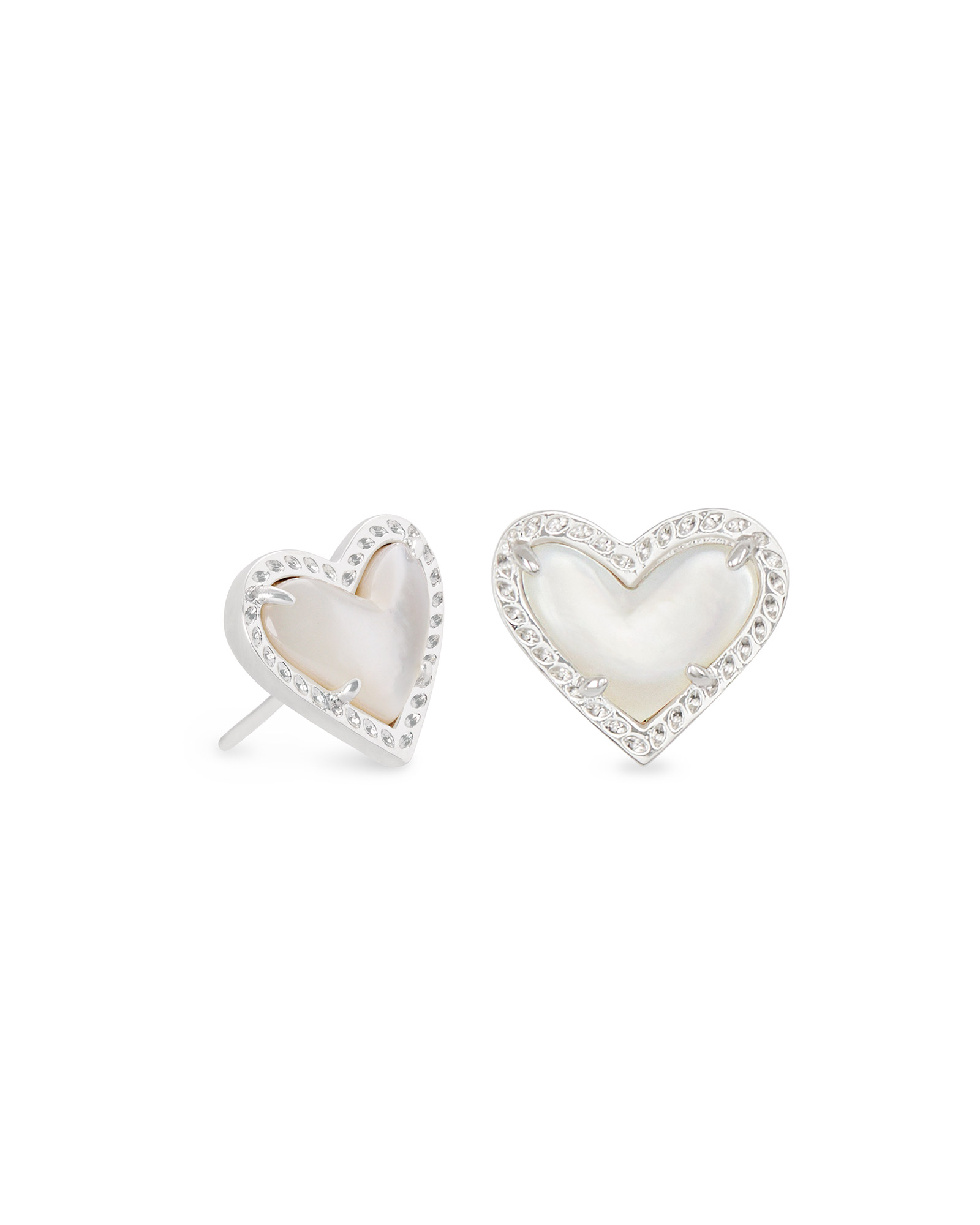 Ari Heart Silver Stud Earrings in Ivory Mother-of-Pearl
