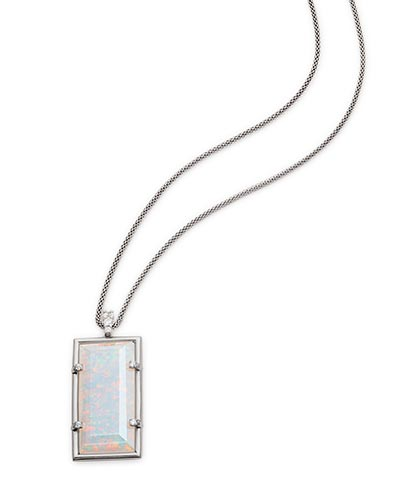 Edith Long Pendant Necklace in Antique Silver