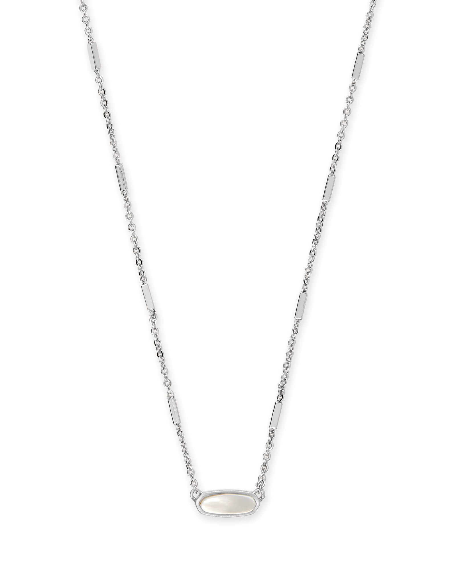 Miya Bright Silver Pendant Necklace in Ivory Pearl