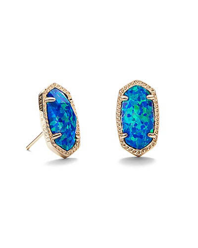 Ellie Stud Earrings in Royal Blue Kyocera Opal