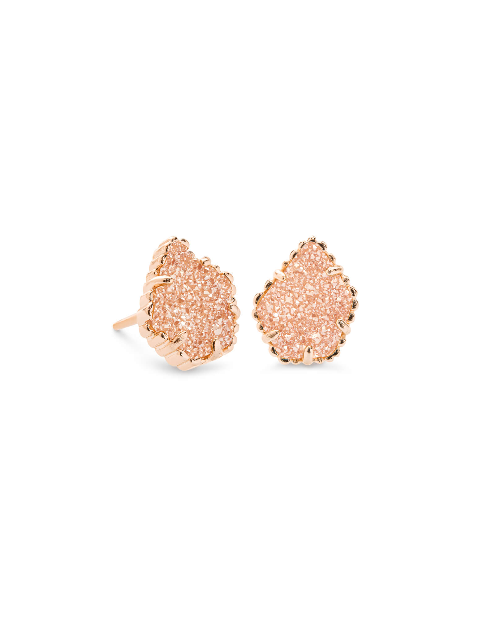 Tessa Rose Gold Stud Earrings in Sand Drusy