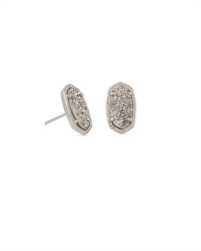 Ellie Silver Stud Earrings in Platinum Drusy