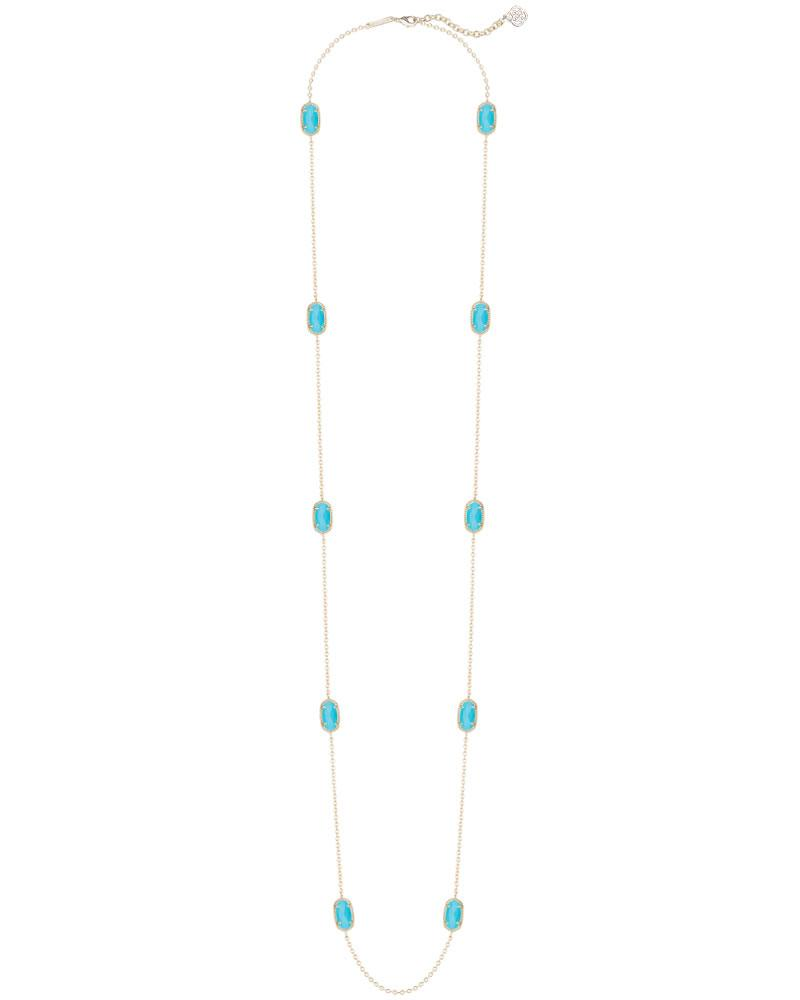 Kellie Gold Long Necklace in Turquoise