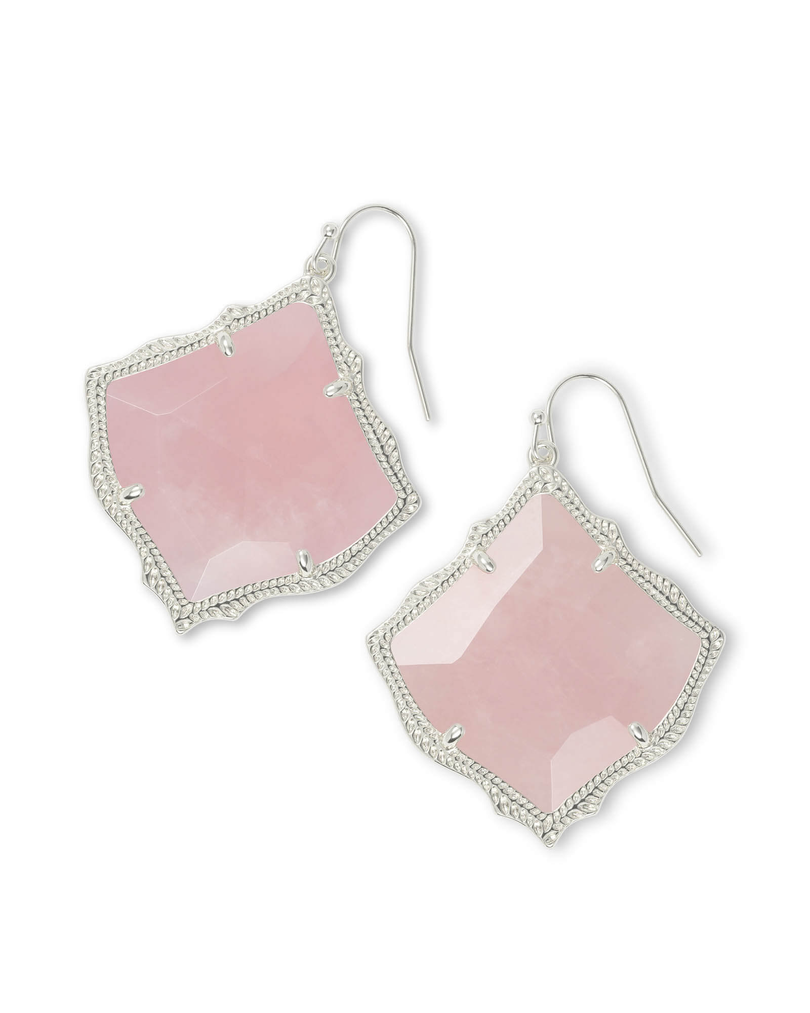 Kirsten Silver Drop Earrings in Rose Quartz